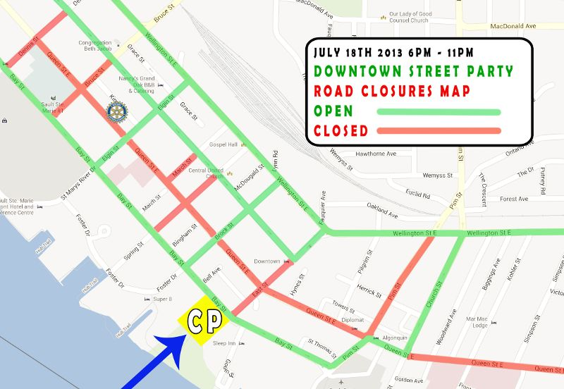 2013 Sault Ste. Marie downtown street party map
