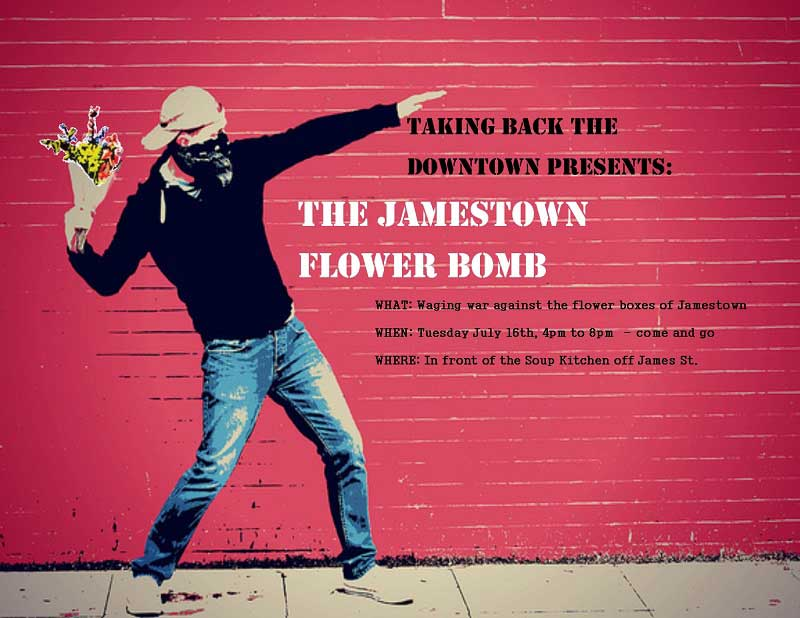 Sault Online - The Jamestown Flower Bomb event - Taking back the downtown