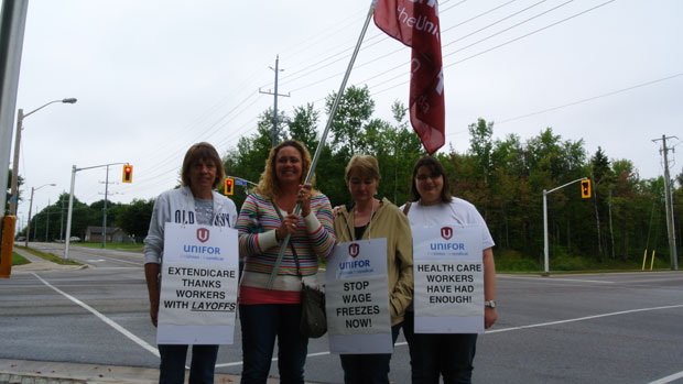MapleView workers get support from passing motorists Thursday at Pine street and Northern Ave.