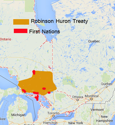 Robinson Huron Treaty was signed in 1850, covering land from Parry Sound to Sault Ste. Marie and north to Lake Superior