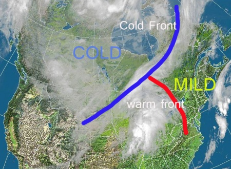 The cold is easily seen in this satellite image Wednesday morning