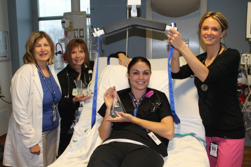 Left to right: Mary Runde, ICU Manager and RNS Debbie Lebine, Katie Deschamps and Christy Roach.