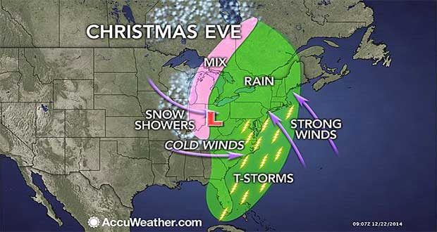 Newset models show a wintery mix for the Sault while anything from strong thunderstorms to heavy snow hits the Midwest US.  Map courtesy AccuWeather.com