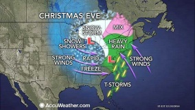 Map courtesy AccuWeather shows the storm track and what it will bring