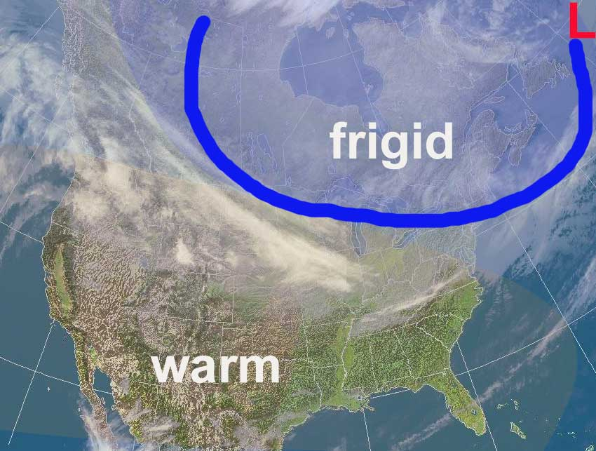 Position of the cold front as of Tuesday night.