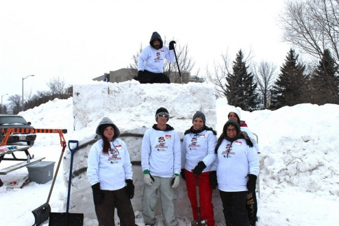 Bon Soo 2015 Snow Sculpting Team There's Sno Reason to be Cold
