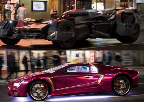 The batmobile (TOP) and the Joker's Car (BOTTOM)  as seen on Younge Street