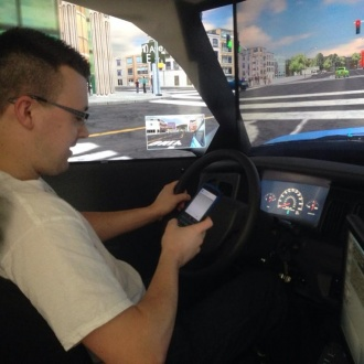 Daniel Laprade from KC Security tries out his texting and driving skills.