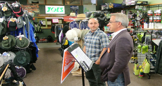 Dave Edgar owner of Joe's Sports, hosted Skip Morrison as he presented the NDP plan to create jobs in Sault Ste. Marie.