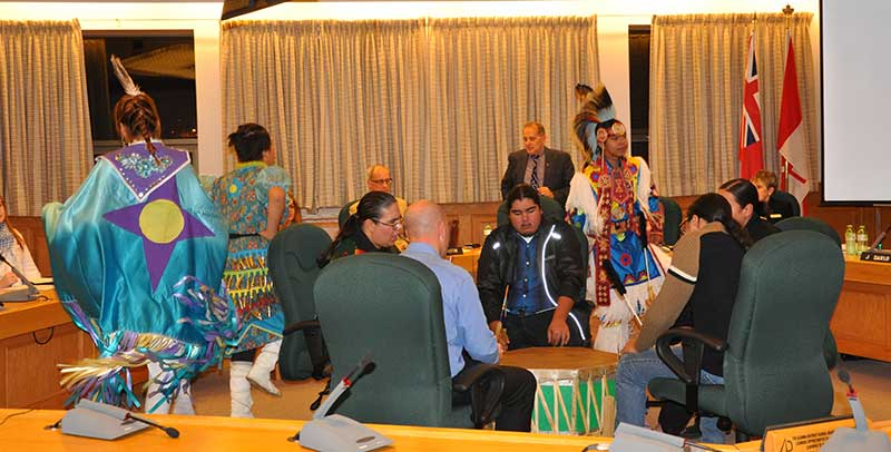 The Board Room at the Algoma District School Board Education Centre was full of sound and colour on Tuesday night as students from White Pines provided a sample of the dancing and drumming that they had shared at a recent student-led pow wow held at the school.