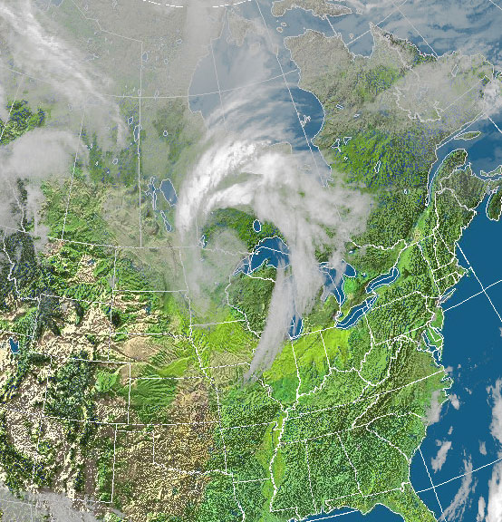 An upper level disturbance as easily seen on this satellite image will turn warm days into cold over the next 7 days.