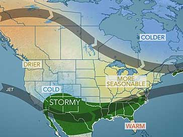Courtesy AccuWeather. This map for the Period of January 6 to 10th shows a more typical winter weather pattern setting up.