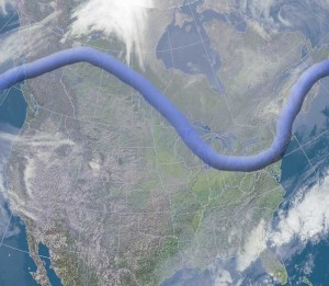 Jet stream for Monday will allow the colder arctic air to flood the Great Lakes for at least one day.
