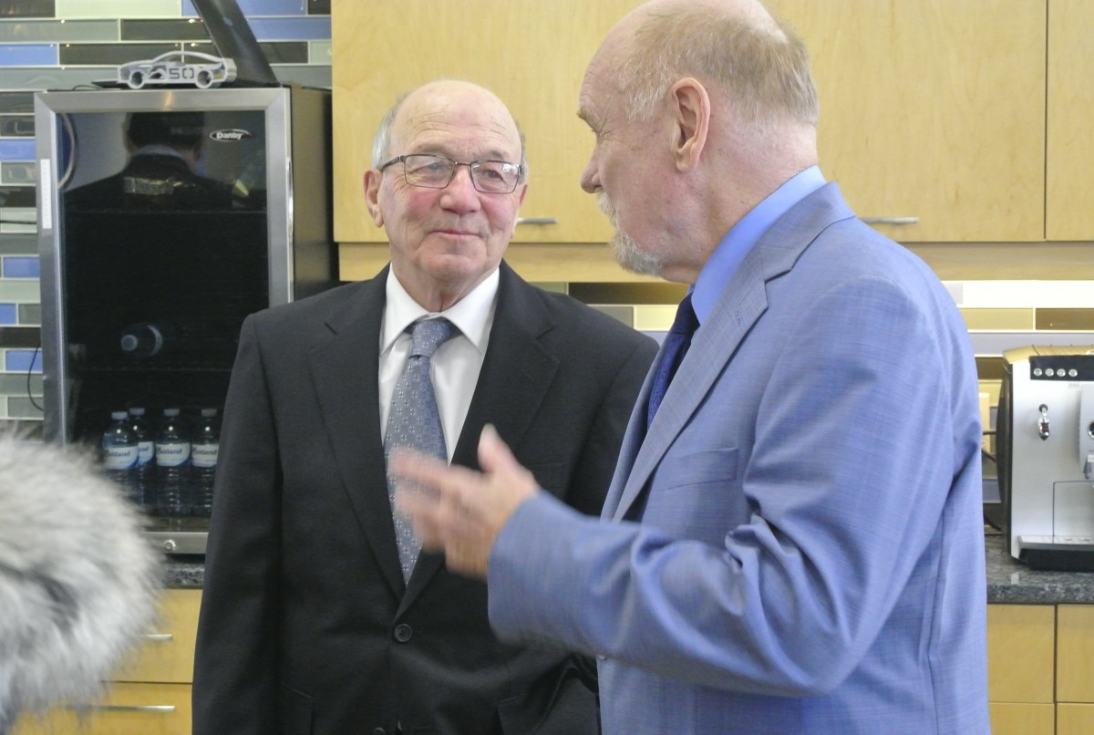 Maitland Lewis with Sault College President, Dr. Ron Common