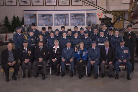 Group photo with Dr Bondar with the 155 Sqn. Mascot Leading Air Cadet Bear on her shoulder, dignitaries, the cadets and staff of the 155 Sqn. Photo Credit: Sean Clement.