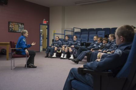 Dr Bondar has a question and answer session with the 155 Sqn.  Photo Credit: Sean Clement.