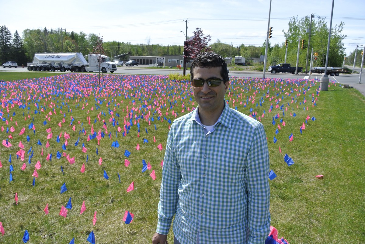 Joe Ruscio - local organizer helped with the flag display