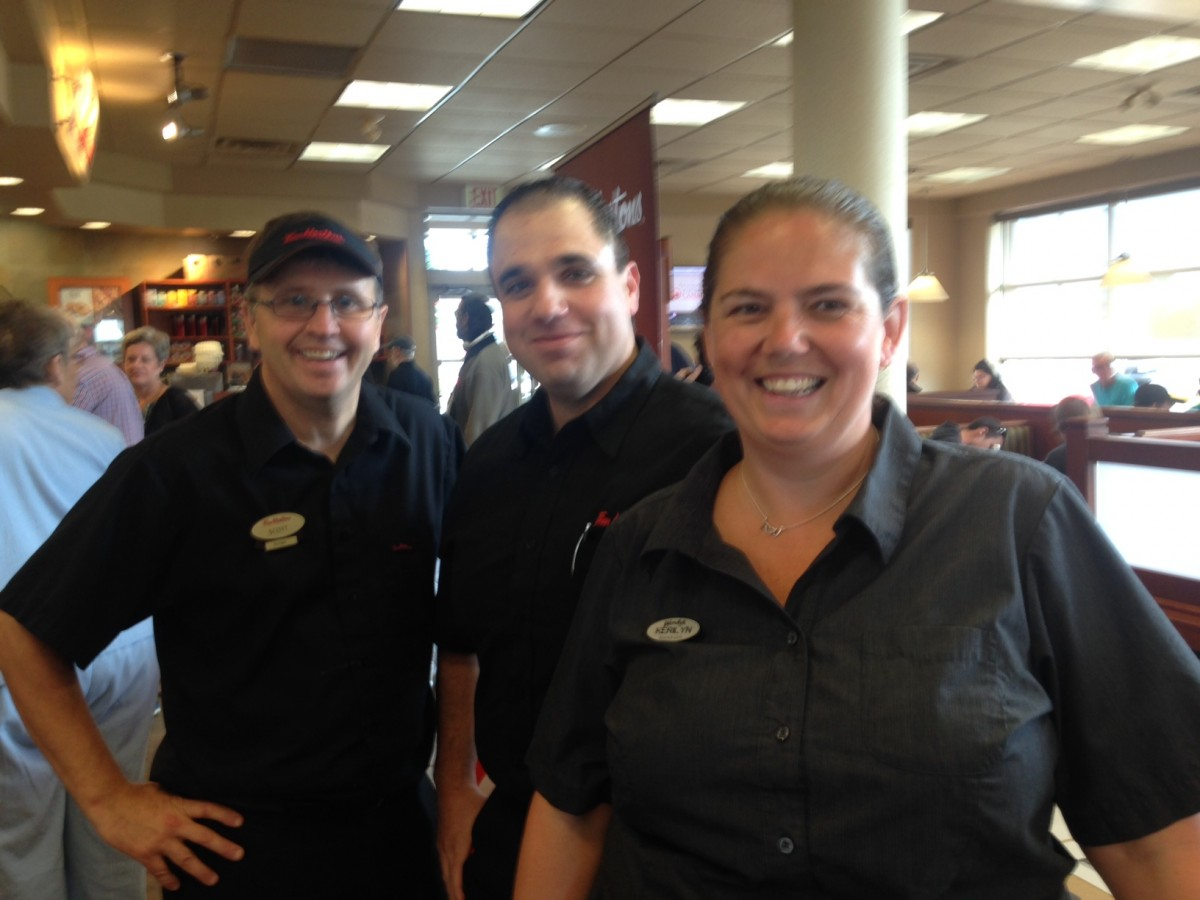 Scott Barber Manager Tim Hortons with Ryan Ditommaso, owner and Wendy's manager Kerilyn Trudel-houslander