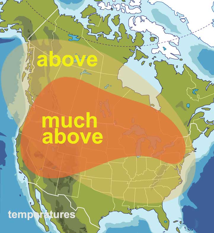 this map shows much above temperatures can be expected from the end of June through to mid-August