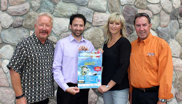 Ian McMillan, Executive Director of Tourism Sault Ste. Marie; Michael Gagnon, Mentoring Coordinator for Big Brothers Big Sisters Sault Ste. Marie; Rebecca Bolton, Executive Director of Big Brothers Big Sisters Sault Ste. Marie; and Pierre Savoie, Event Coordinator for Poker Runs America.