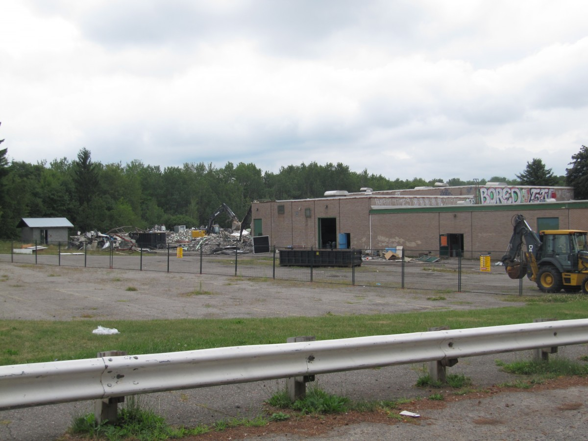 Demolition of the back end of the building is underway.