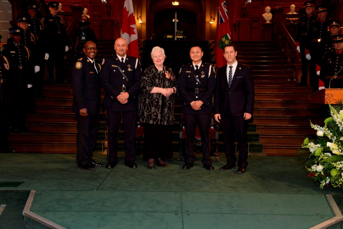 Police Chief Mark Saunders, Toronto Police, Con. Jean-Marc Loiselle, Toronto Police, Hon. Elizabeth Dowdeswell, Lieutenant Governor of Ontario, Con. Eric Ka Wai Yu, Toronto Police, Hon. David Orazietti, Minister of Community Safety and Correctional Services