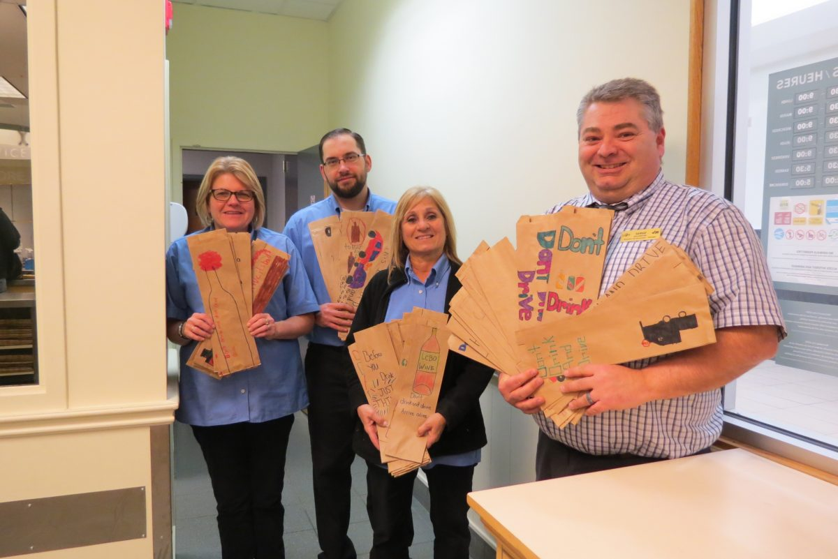 Decorated bags were dropped off at store 63, Station Mall where Serge Sylvestre, Manager, Lucy DiMicoli, Assistant Manager and CSR's Shelly Bailey and Floyd Freemon accepted the bags with appreciation.