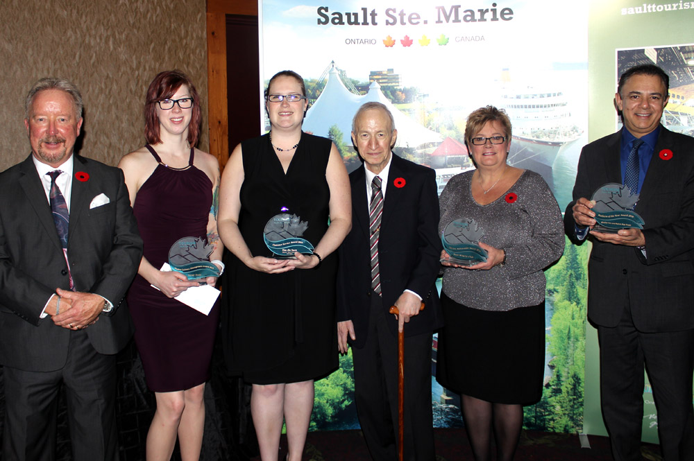 Ian McMillan (left), Executive Director of Tourism Sault Ste. Marie, with the 2016 Tourism Award winners.