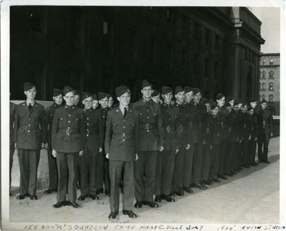"155 Soo ""K"" Squadron at Camp Hagersville, JULY 1945 UNION STATION. PHOTO CREDIT: UNKNOWN, Lucy Healey Album"