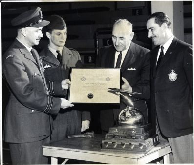: 155 Sault Ste Marie earns Top Squadron in Canada.L-R. Sqn/Ldr Murry Commanding Officer 155. Unknown 155 Cadet, Unknown, Unknown. PHOTO CREDIT: UNKNOWN, Lucy Healey Album