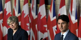 British Prime Minister Theresa May meets with Prime Minister Justin Trudeau