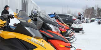 Snowmobiles at parked at breakfast at Park Grille 2017
