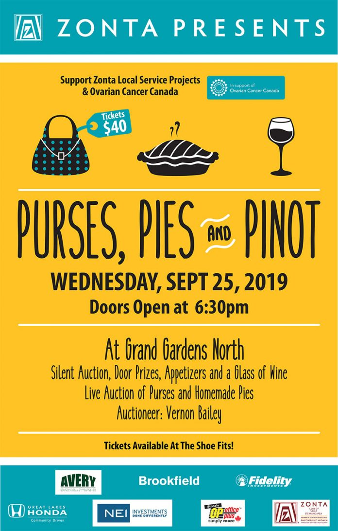 Purses, Pies and Pinot in support of Zonta local service projects and Ovarian Cancer Canada