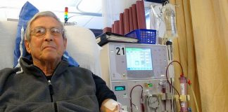 Patient receiving dialysis