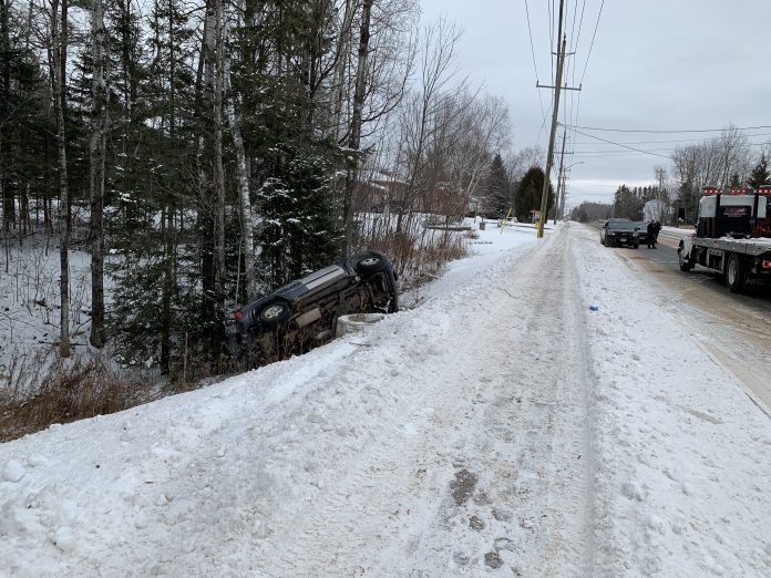 Vehicle in ditch