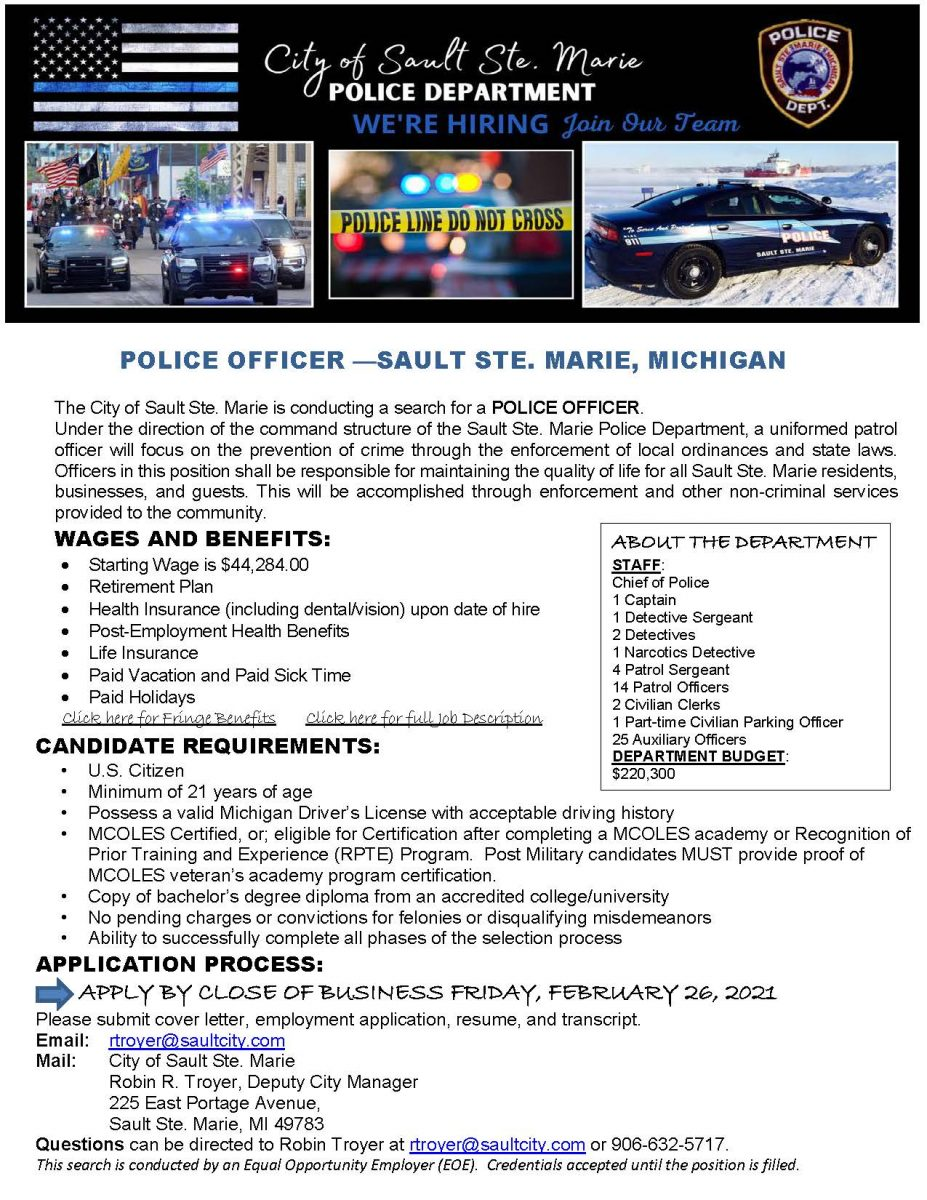 Sault Ste Marie Michigan Hiring a Police Officer
